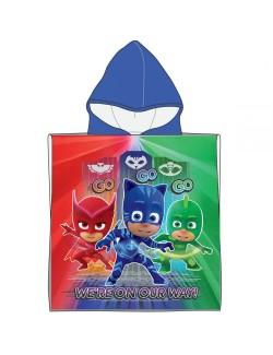 Prosop poncho Eroi in pijama PJ Masks, cu gluga, 50 x 100 cm,