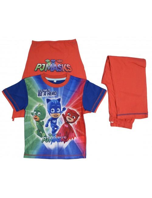 Set tricou, pantaloni si mantie copii, PJ Masks, rosu/albastru