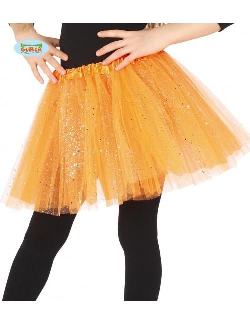Fusta tutu glossy, portocalie, pentru copii