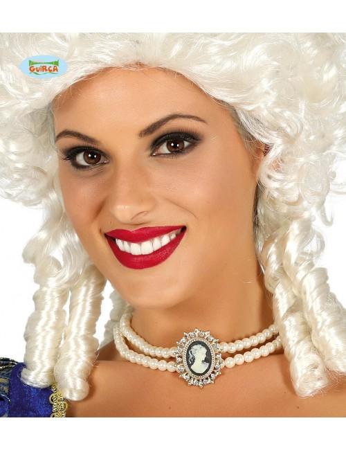 Colier perle artificiale, cu pandantiv