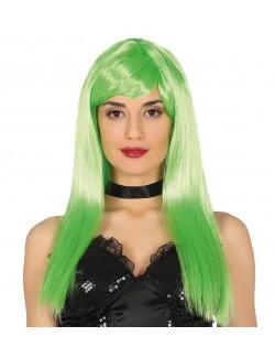 Peruca verde neon, Pop star, par lung