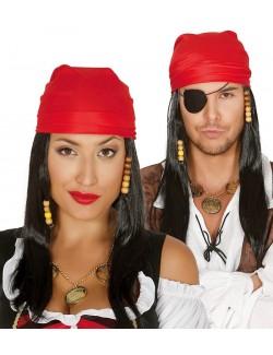 Peruca Pirat adult, cu bandana rosie