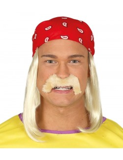 Peruca blonda, mustata si bandana rosie, Wrestler