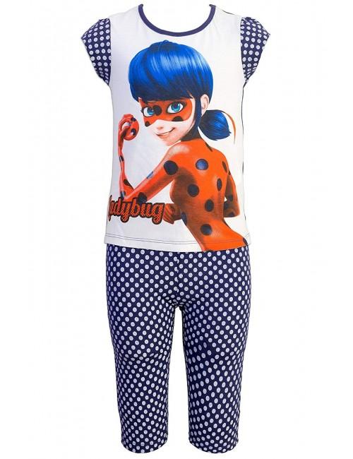Pijama vara copii, Miraculos Buburuza, bleumarin-alb
