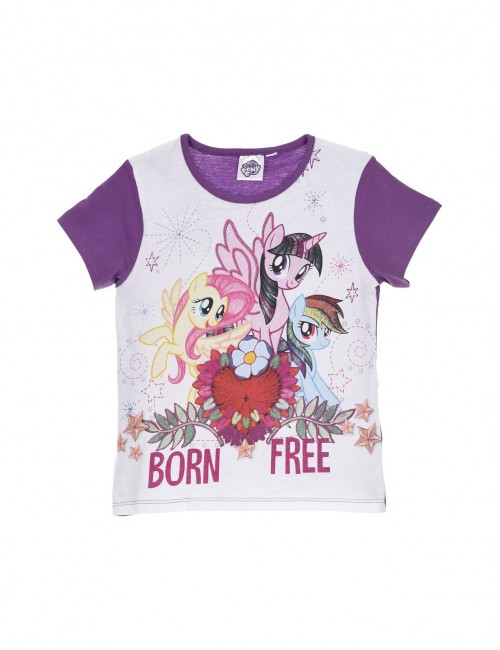 Pijama copii, My Little Pony, maneca scurta, alb/mov