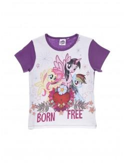 Pijama copii, My Little Pony, maneca scurta, alb/mov