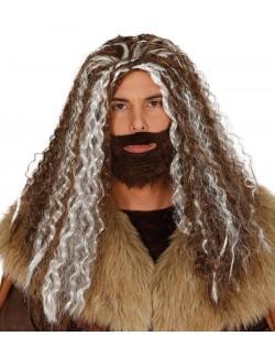 Set barba saten si peruca bicolora, par lung