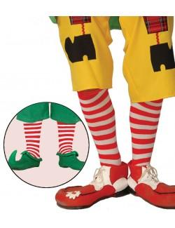 Sosete Elf / Clown, dungi alb-rosu, 45 cm