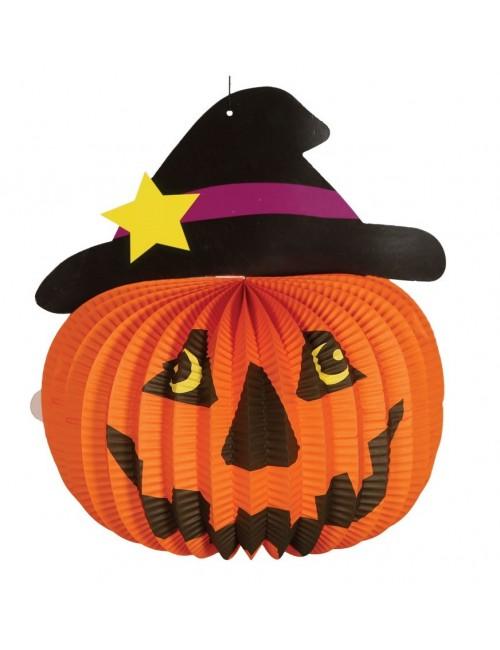 Lampion hartie, Dovleac Halloween, 28 cm