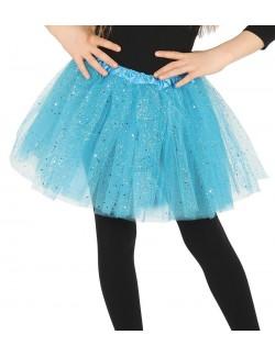 Fusta tutu glossy, bleu, pentru copii