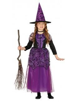 Costum Halloween Vrajitoare Mov, fete 5 - 12 ani