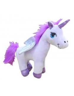 Jucarie Unicorn, din plus, culoare mov-lila, 18 cm