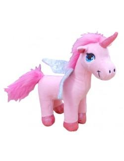Jucarie Unicorn roz, din plus, 18 cm