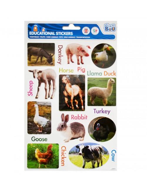 Stickere educative cu Animale de la ferma, 29 x 18 cm