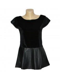 Bluza dama, catifea cu piele ecologica, neagra