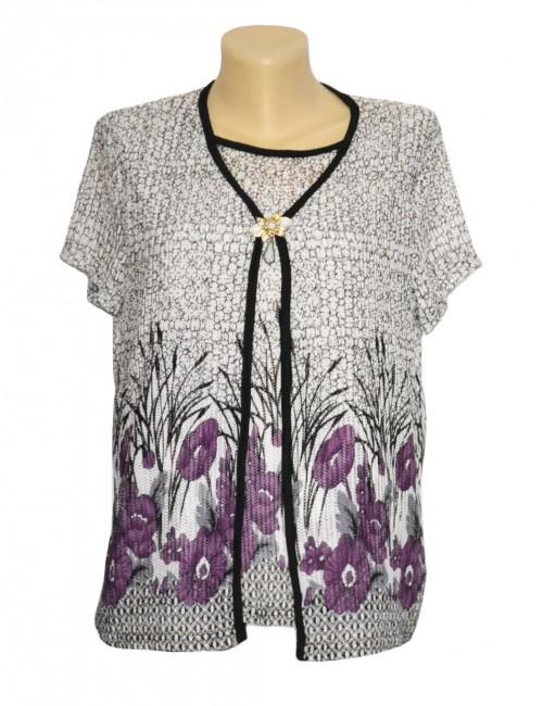 Bluza dama, flori mov, 48