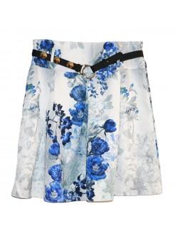 Fusta femei, imprimeu floral alb - albastru