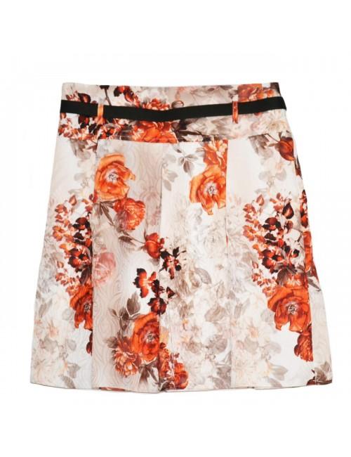 Fusta femei, imprimeu floral crem - portocaliu, 40 - 44