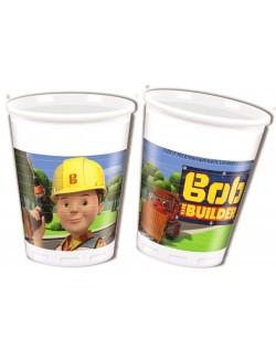 Set 8 pahare plastic, Bob Constructorul, 200 ml