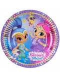 Set 8 farfurii party, Shimmer si Shine, 18 cm