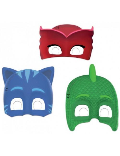 Set 6 masti carton, Pj Masks, pentru copii