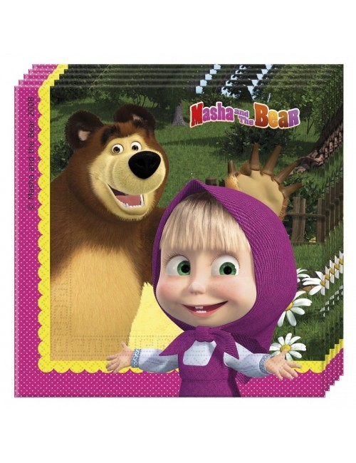 Set 20 servetele, Masha si Ursul, 33 x 33 cm