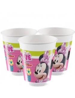 Set 8 pahare party, 200 ml, Minnie Mouse cu floricica