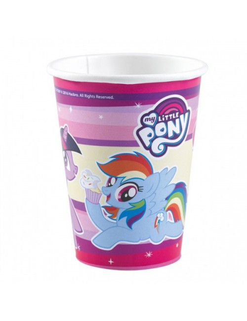 Set 8 pahare carton, My little Pony, 250 ml