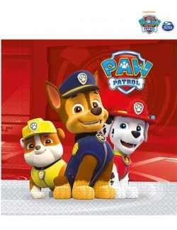 Set 20 servetele, Chase, Rubble si Marshall - Paw patrol, 33 cm