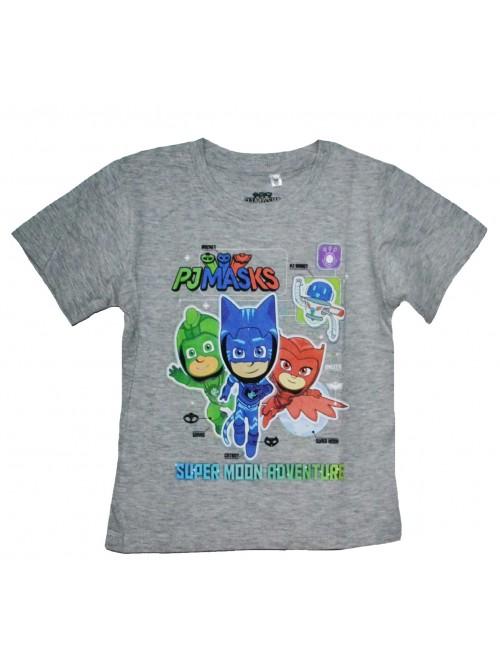 Tricou copii, PJ Masks, gri, 3 - 8 ani