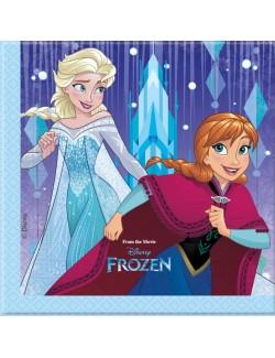 Set 20 servetele Disney Frozen, Ana, Elsa si Olaf, 33 x 33 cm