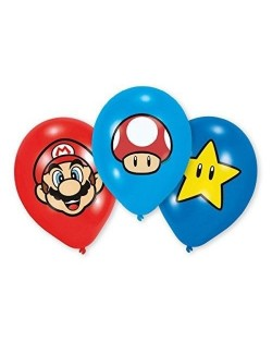 Set 6 baloane party, Mario Bros, 27,5 cm