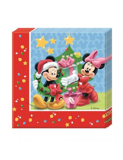 Set 20 servetele Craciun cu Mickey si Minnie, 33 cm