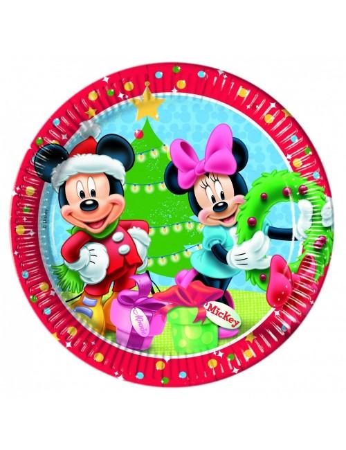 Set 8 farfurii party, Craciun cu Mickey si Minnie, 23 cm