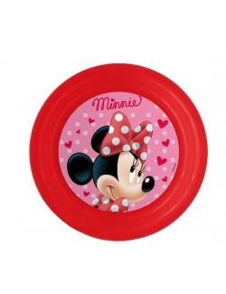 Farfurie 3D copii, Minnie Mouse, 20 cm, rosie