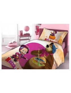 Lenjerie de pat, Masha si Ursul - pictor, 160 x 200 cm