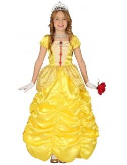 Rochie galbena Printesa, copii 4 - 9 ani
