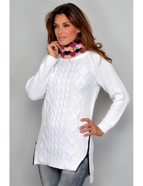 Pulover femei, alb, cu fermoare laterale, M-XL