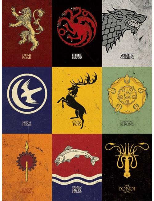 Poster - Art print - Game of Thrones, Sigilii, 60 x 80 cm
