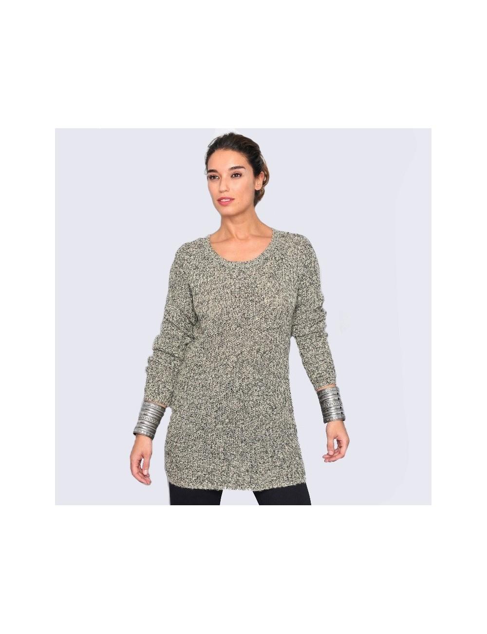Pulover femei, lung, mohair cu fir argintiu, M - XL