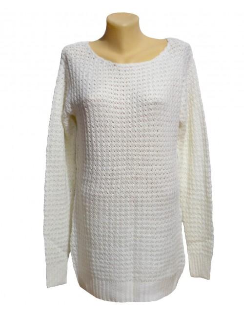 Pulover dama, alb, cu gaurele, M-XL