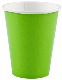 Set 8 pahare carton, 266 ml, verde kiwi