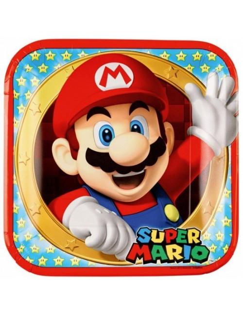 Set 8 farfurii petrecere, Mario Bros, 23 cm