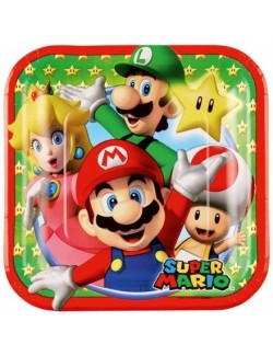 Set 8 farfurii petrecere, Mario Bros, 18 cm
