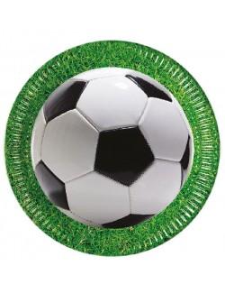 Set 8 farfurii petrecere, Fotbal, 23 cm, verde