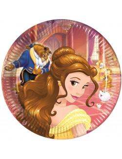 Set 8 farfurii petrecere, Belle si Bestia, 23 cm