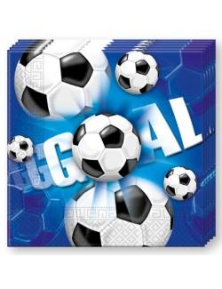 Set 20 servetele Fotbal, albastre, 33 x 33 cm