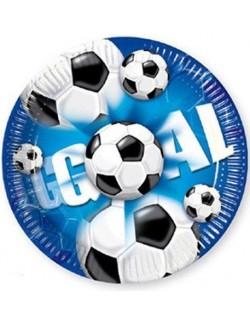 Set 10 farfurii party, Fotbal, 20 cm, albastru