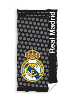 Prosop baie / plaja, Real Madrid, negru-gri, 150 x 75 cm