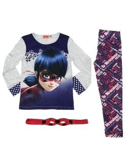 Pijama Buburuza, cu masca, copii 4 - 8 ani, gri-albastru
